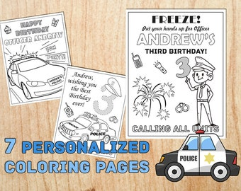POLICEMAN Birthday Party Coloring Pages Personalized Supplies Printable Children Table Decorations Digital