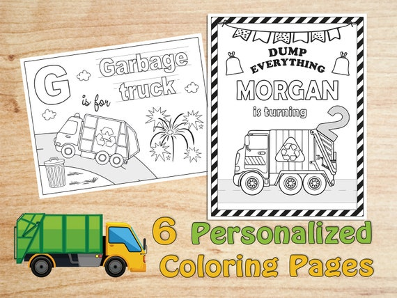 Garbage Truck Birthday Party Coloring Pages Trash Recycle Etsy