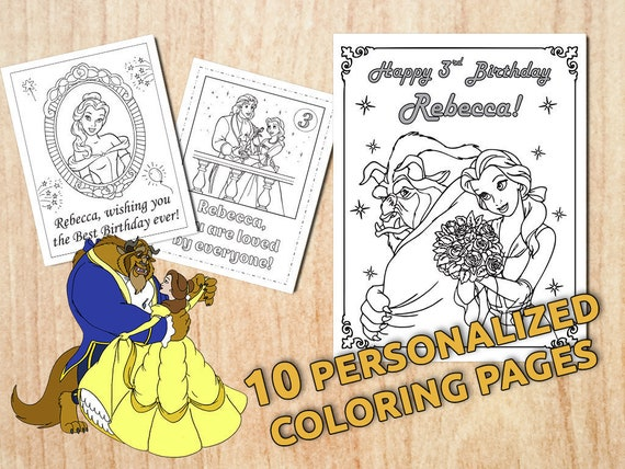 Beauty and the Beast Birthday Party Coloring pages Belle | Etsy