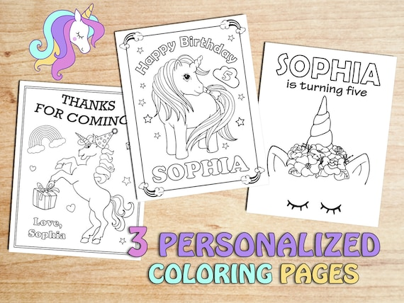 Unicorn Birthday Party Coloring Pages Personalized Floral Etsy