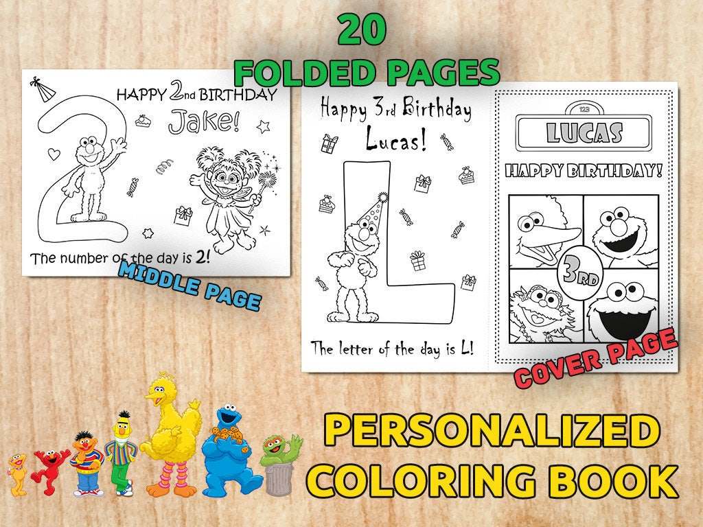 Sesame Street Birthday Party Activity Coloring Book Digital Printable Favors Decorations PDF