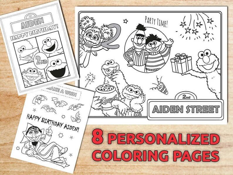 Personalized Sesame Street Coloring Pages Sesame Birthday Etsy