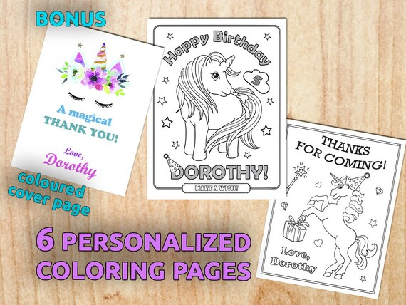 Personalized Coloring Book Coloring Page | Unicorn Birthday Party Coloring Pages Personalized Coloring Etsy