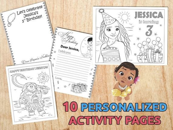 Moana Birthday Party Activity Coloring Pages Personalized