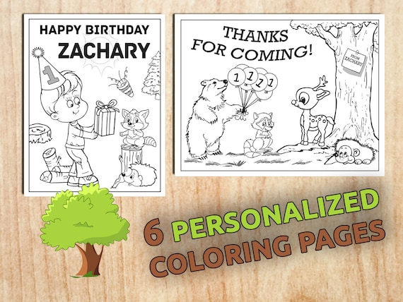 WOODLAND Animal  Birthday Party Coloring Pages First