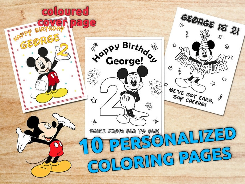 Mickey Mouse Birthday Party Coloring Pages, Personalized, CLUBHOUSE,  Flavour Bag, Table Decor, Printable, Digital, PDF