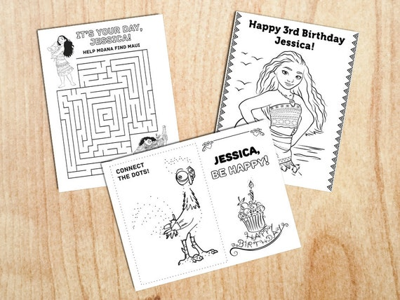 Moana Birthday Party Activity Coloring pages Personalized | Etsy