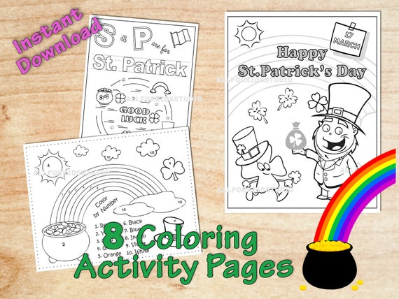St Patrick's day Coloring Activity Pages Printables for