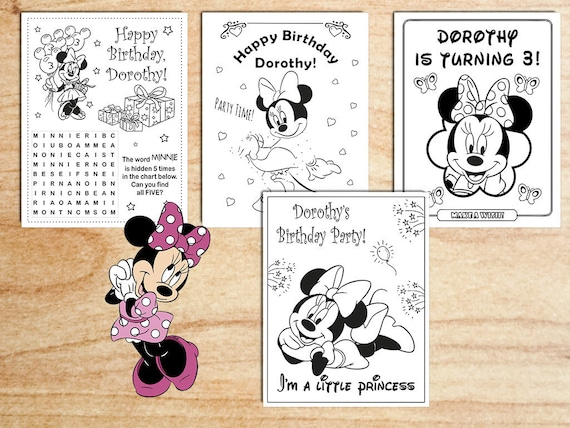 Minnie Mouse Birthday Party Coloring Pages Decorations Activity Gift Bags Personalized Printable Digital PDF