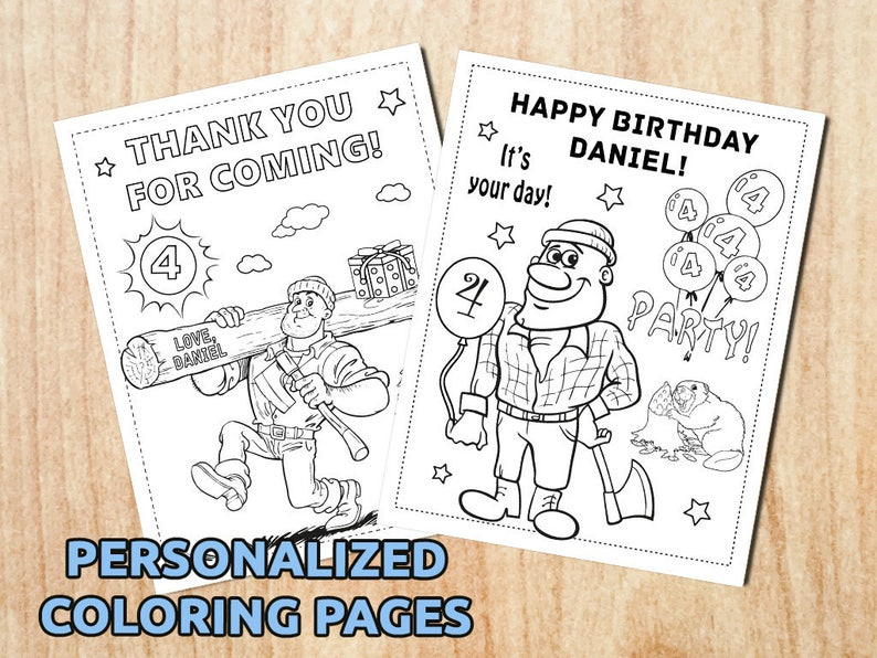 Lumberjack Birthday Party Coloring Pages Lumberjack Etsy