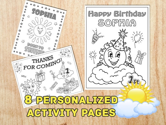 You Are My Sunshine Birthday Party Coloring Pages First