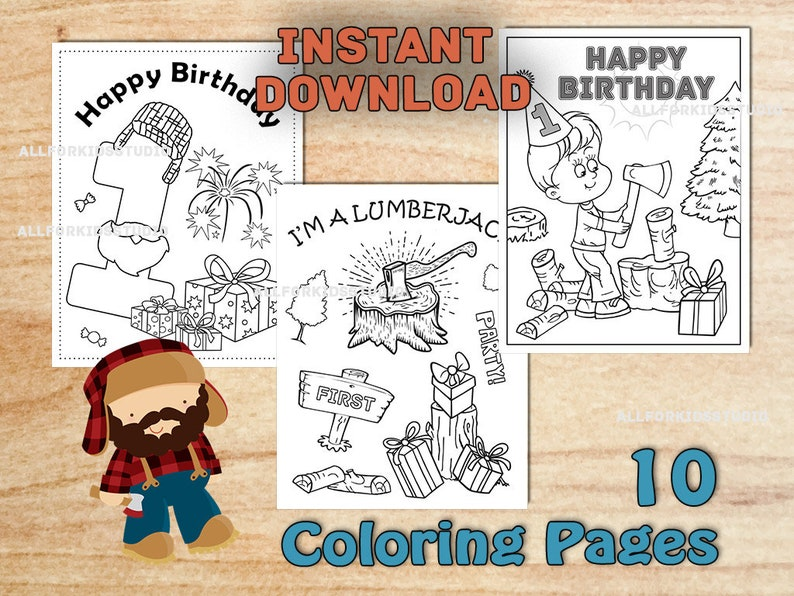 Lumberjack Birthday Party Coloring Pages First Birthday Etsy