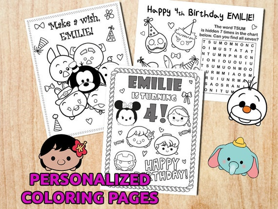 Tsum Tsum Fiesta De Cumpleaños Para Colorear Páginas Libro De: Tsum Tsum Disney Birthday Party Coloring Pages