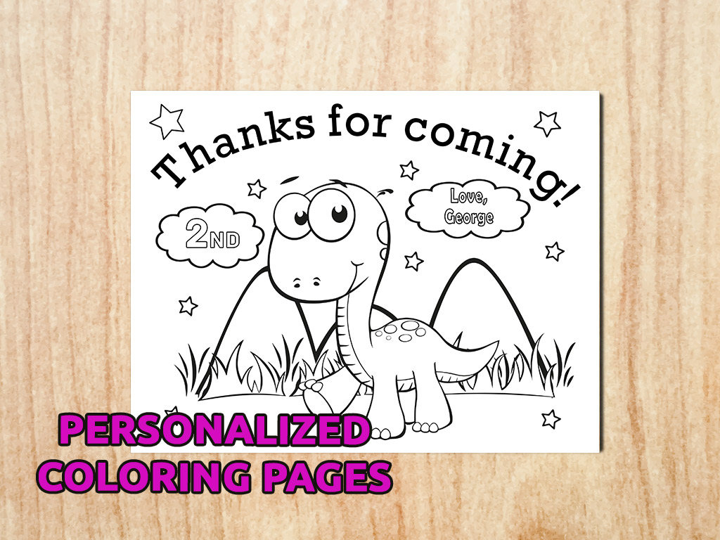 Dinosaur Birthday Party Coloring Pages Personalized