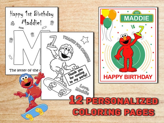 ELMO Birthday Party Coloring Pages Sesame Street Party | Etsy