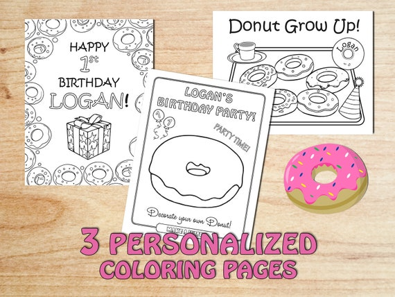 Personalized Donuts Birthday Party Coloring Pages Donut Etsy