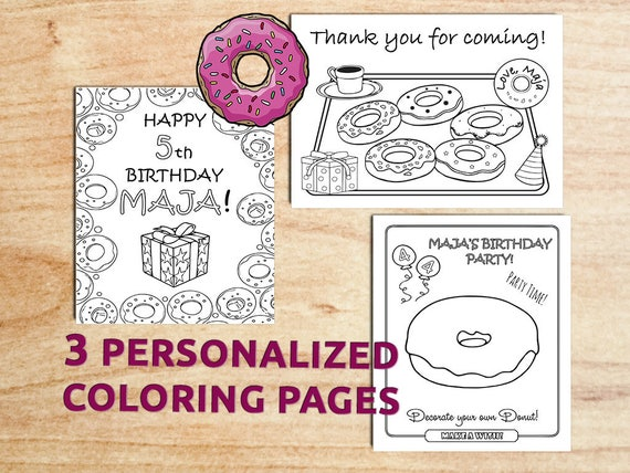 Donut birthday party coloring pages donut first birthday for Selling coloring pages on etsy