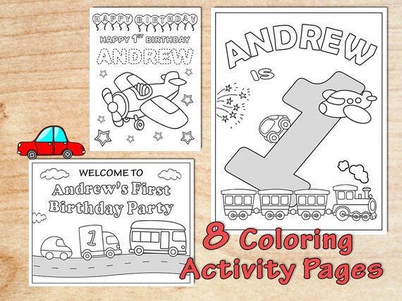 Transportation Birthday Party Coloring Pages Decorations Airplane Car Train Truck First Birthday Any Age Personalized Boy Printable