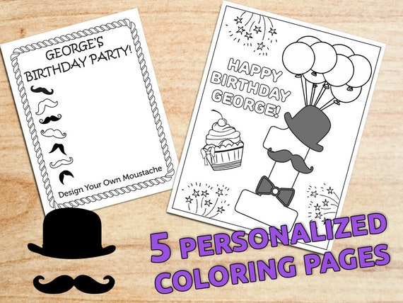 Little Man Birthday Party Coloring Pages Personalized Party | Etsy