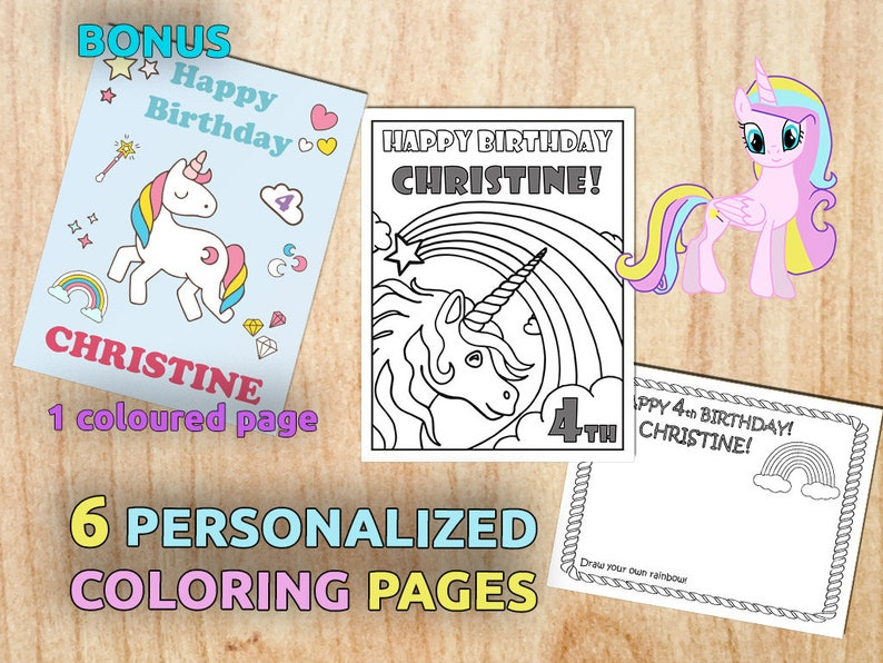 Unicorn Birthday Party Coloring Pages / Personalized / | Etsy