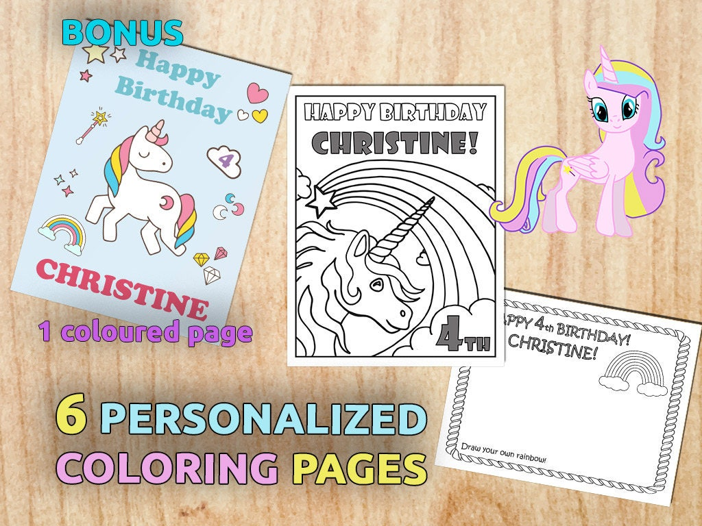 Unicorn Birthday Party Coloring Pages Personalized