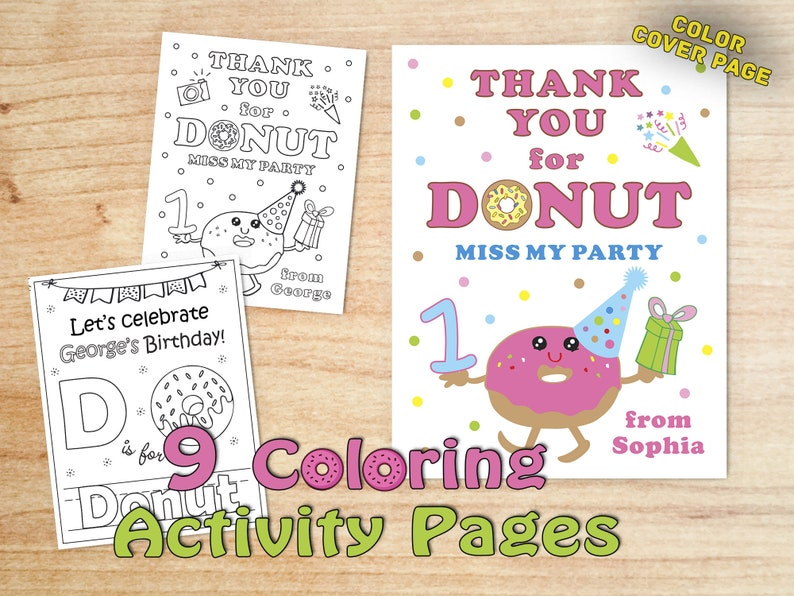 Donut First Birthday pages Donut Party Supplies Donut Birthday Party Coloring book Personalized Favor supply Printable PDF
