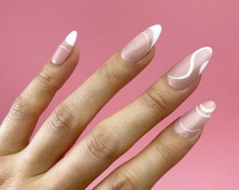 Groove Swirly White Line, Negative Space Press On Nails | Any Shape | Fake Nails | False Nails | Glue On Nails