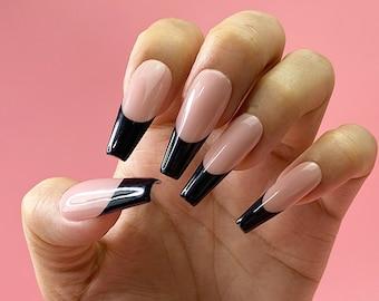 Classic Timeless Black French Tip Press On Nails | Any Shape | Fake Nails | False Nails | Glue On Nails