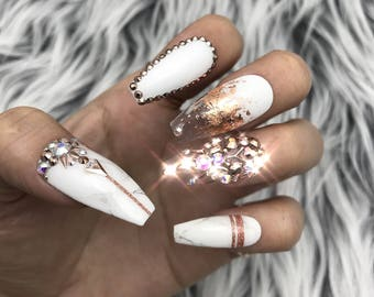 White Marble Nails Etsy