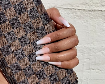 Instant Glam Press On Nails- Baby Boomer Nude Ombre | Medium Coffin | Fake Nails | False Nails | Glue On Nails