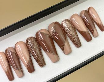 Caramel Macchiato Swirly Line, Brown Nude Reflective Glitter Press On Nails | Any Shape | Fake Nails | False Nails | Glue On Nails