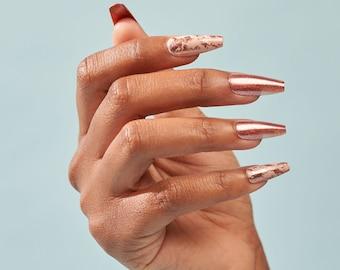 Instant Luxury Acrylic Press On Nails- Rose Rock | Rose Gold | Fake Nails | False Nails | Glue On Nails