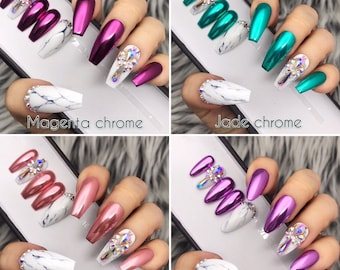 Chrome with Marble and Crystal detailed Press On Nails | Any Shape | Fake Nails | False Nails | Glue On Nails