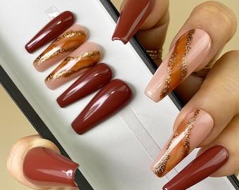 Mahogany Brown Marble | Solid Glossy Press On Nails | Any Shape | Fake Nails | False Nails | Glue On Nails