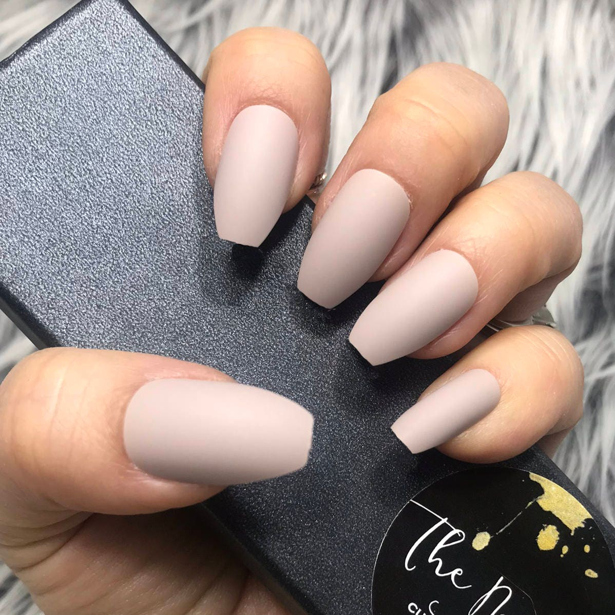 READY TO SHIP | Tan | Solid Matte Finish Coffin Shape Press on Nails ...
