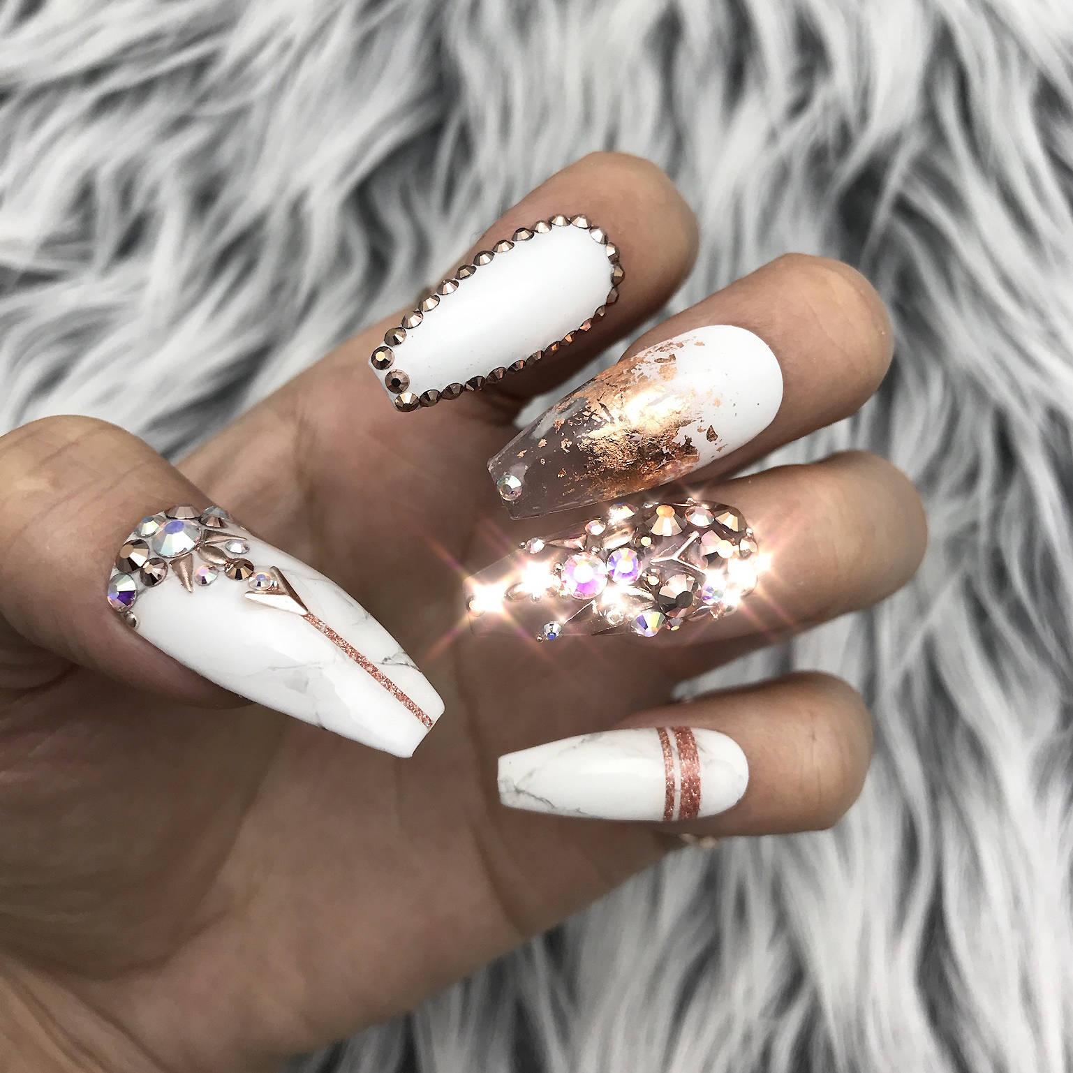 Rose Gold White Marble Swarovski Crystal Nail Press On ...