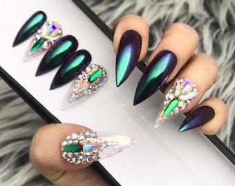 Tia Peacock Green Chrome w/ Crystal Detailed Press On Nails  | Any Shape | Fake Nails | False Nails | Glue On