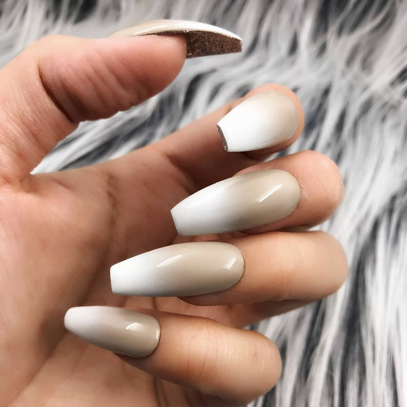 Nude Beige And White Ombre Nude Blend Press On Nails Any Etsy