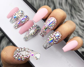 Pink Fearless Silver Crystal Nail | Press On Nails | Fake Nails | False Nails | Glue On Nails | Bridal Nails | The Nailest