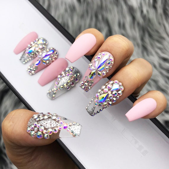 Crystal Chrome Nails: Black Marble Chrome Swarovski Crystal Nails Nails T