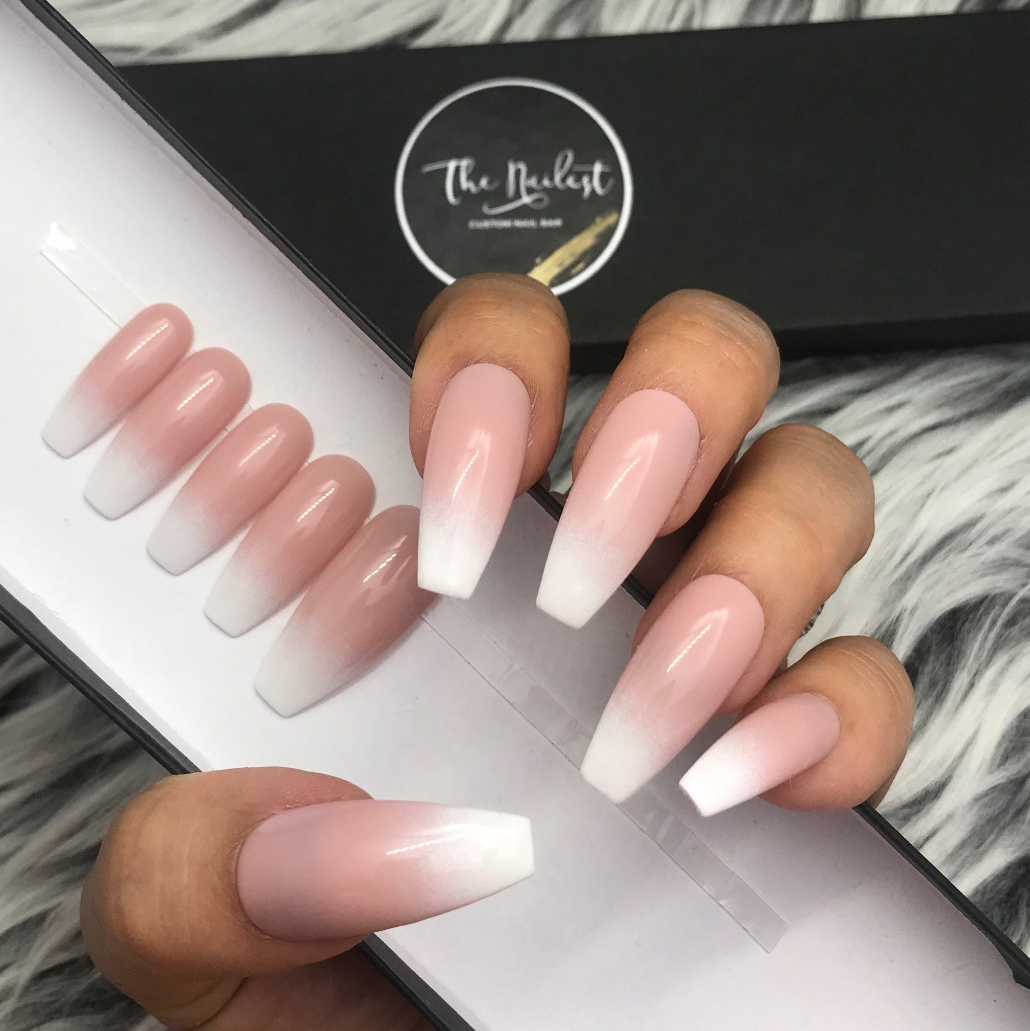 Soph Pink And White Ombre Nude Blend Baby Boomer Press On Etsy