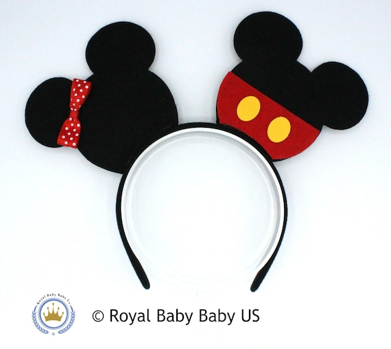 Red and Black Mickey Mouse Ears, Mouse Ears Birthday Headband, Minnie Mouse Ears, Disneyland Ears, Mickey Headband