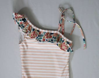 Pretty in Pink Floral and Striped One Piece Swimsuit