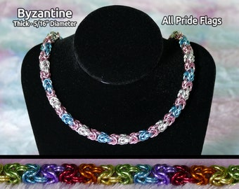 """LGBTQ+ Pride Chainmail Necklace - Byzantine - Thick 5/16"""" (8mm) Diameter - All Flags Available"""