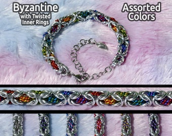 Byzantine Chainmail Bracelets with Colorful Twisted Inner Rings