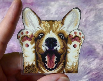 Doggo Happy AF - Clear Sticker Decal - Cute Corgi Pixel Art Sticker