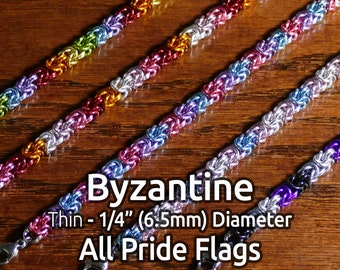 """LGBTQ+ Pride Chainmail Bracelets - Byzantine - Thin 1/4"""" (6.5mm) Diameter - All Flags Available"""
