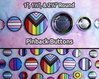 """LGBTQ+ Pride Pinback Buttons - Bordered Stripes - 1"""", 1.5"""", 2.25"""" Round - All Flags Available - Customizable"""
