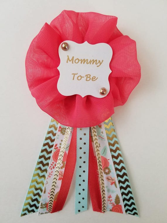 Pink and White Polka Dots Mommy to Be Pin Baby Shower Ribbon Pin Corsage