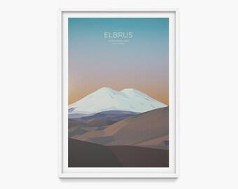 Elbrus, Russia (Mountain Art Print, Mountain Poster / Caucasus, Seven Summits, Russian Mountains, Gift)
